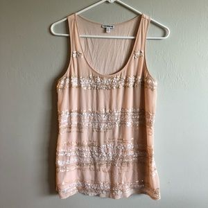 Express Blush Sequined Tank